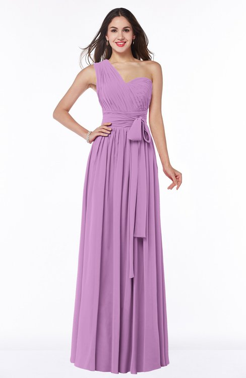 ColsBM Emmeline Orchid Modern A-line Half Backless Chiffon Floor Length Ruching Plus Size Bridesmaid Dresses