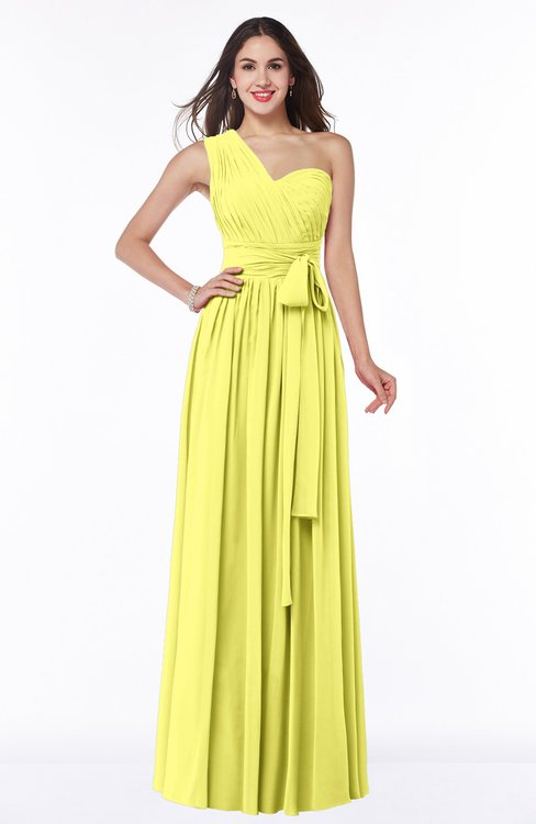 ColsBM Emmeline Pale Yellow Modern A-line Half Backless Chiffon Floor Length Ruching Plus Size Bridesmaid Dresses