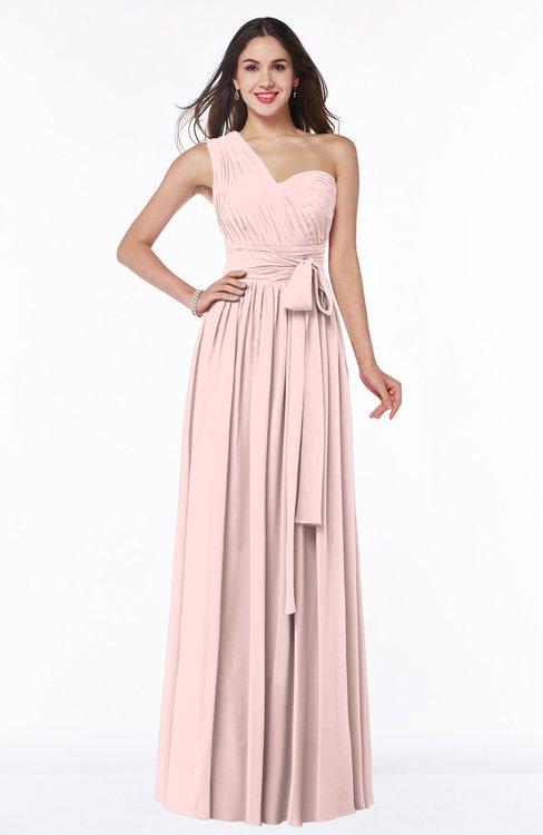 ColsBM Emmeline Pastel Pink Modern A-line Half Backless Chiffon Floor Length Ruching Plus Size Bridesmaid Dresses