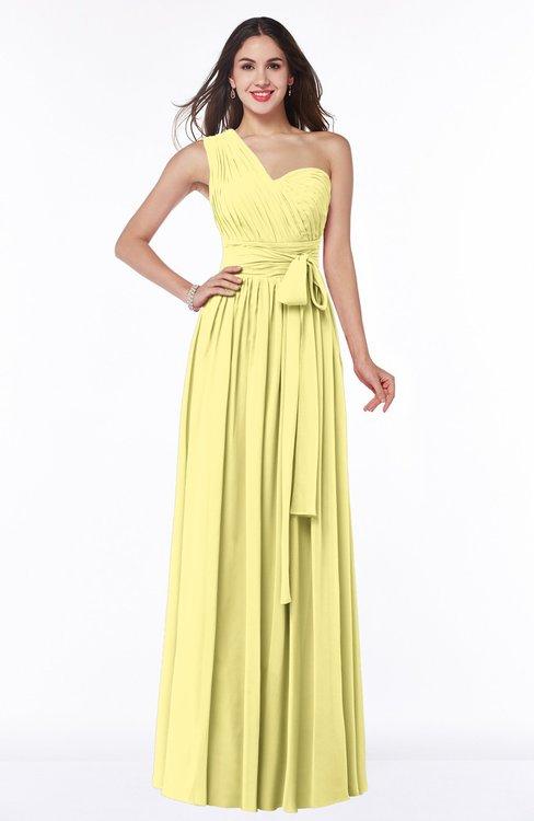ColsBM Emmeline Pastel Yellow Modern A-line Half Backless Chiffon Floor Length Ruching Plus Size Bridesmaid Dresses