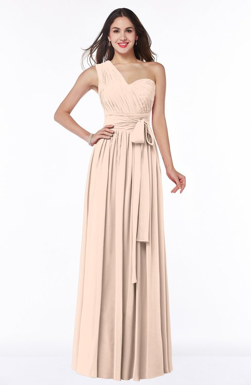 ColsBM Emmeline Peach Puree Modern A-line Half Backless Chiffon Floor Length Ruching Plus Size Bridesmaid Dresses