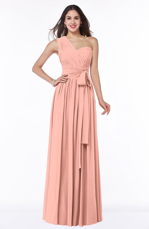 ColsBM Emmeline Peach Modern A-line Half Backless Chiffon Floor Length Ruching Plus Size Bridesmaid Dresses