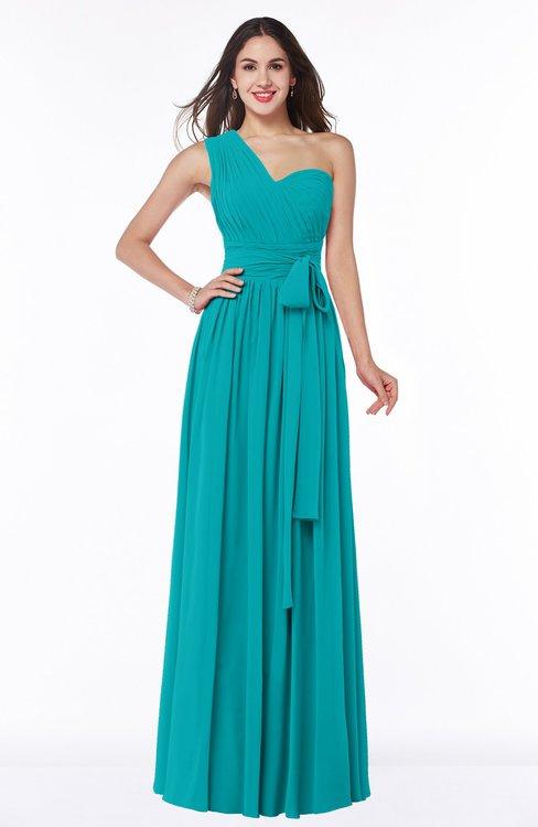 ColsBM Emmeline Peacock Blue Modern A-line Half Backless Chiffon Floor Length Ruching Plus Size Bridesmaid Dresses