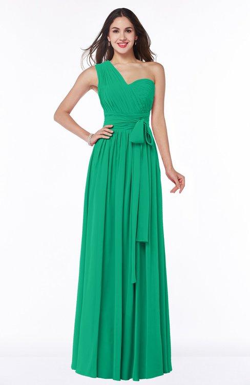 ColsBM Emmeline Pepper Green Modern A-line Half Backless Chiffon Floor Length Ruching Plus Size Bridesmaid Dresses