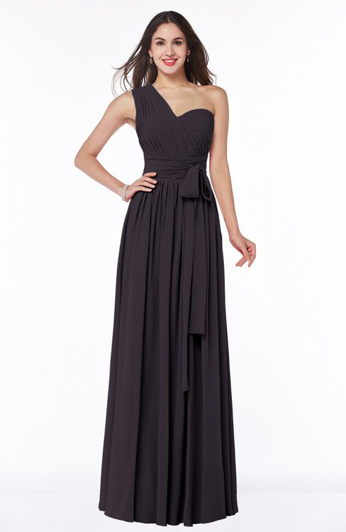 ColsBM Emmeline Perfect Plum Modern A-line Half Backless Chiffon Floor Length Ruching Plus Size Bridesmaid Dresses