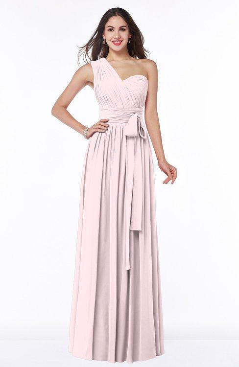 ColsBM Emmeline Petal Pink Modern A-line Half Backless Chiffon Floor Length Ruching Plus Size Bridesmaid Dresses