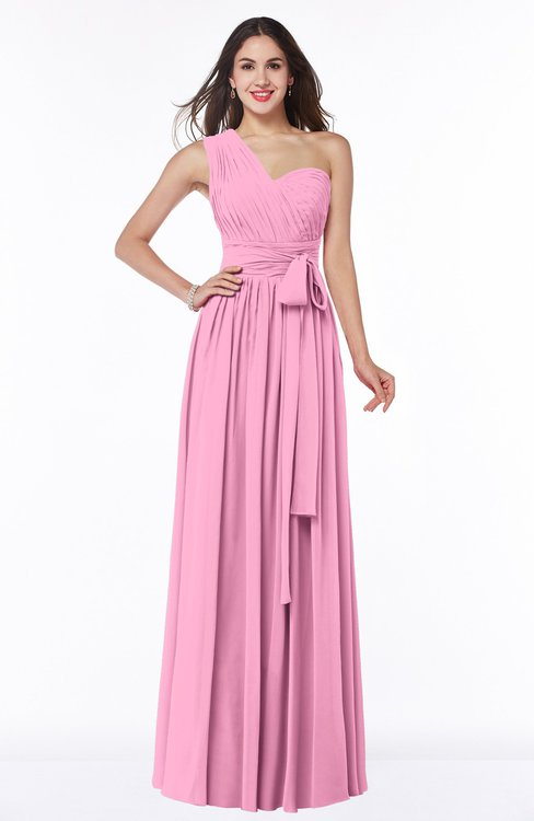 ColsBM Emmeline Pink Modern A-line Half Backless Chiffon Floor Length Ruching Plus Size Bridesmaid Dresses