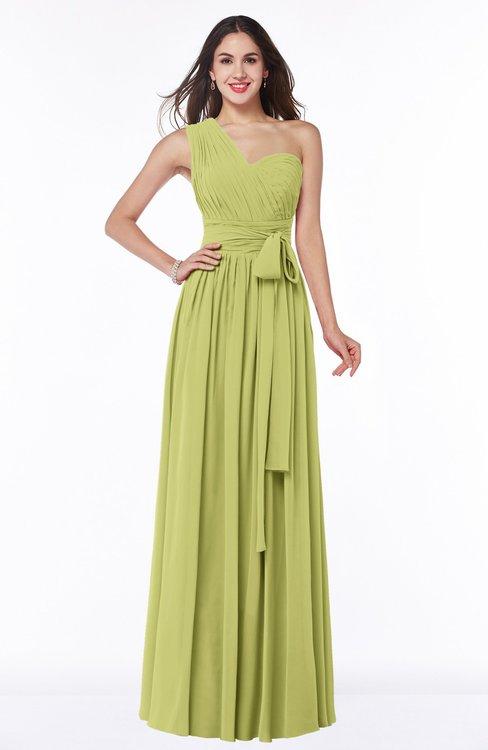 ColsBM Emmeline Pistachio Modern A-line Half Backless Chiffon Floor Length Ruching Plus Size Bridesmaid Dresses