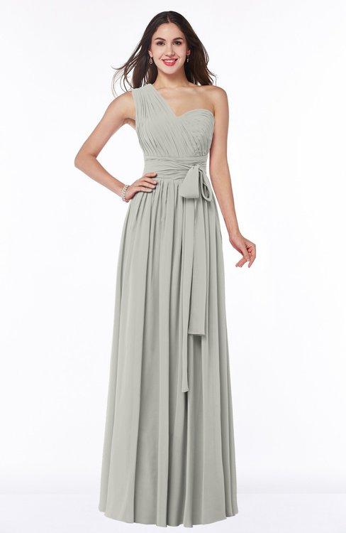 ColsBM Emmeline Platinum Modern A-line Half Backless Chiffon Floor Length Ruching Plus Size Bridesmaid Dresses