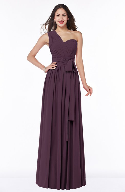 ColsBM Emmeline Plum Modern A-line Half Backless Chiffon Floor Length Ruching Plus Size Bridesmaid Dresses