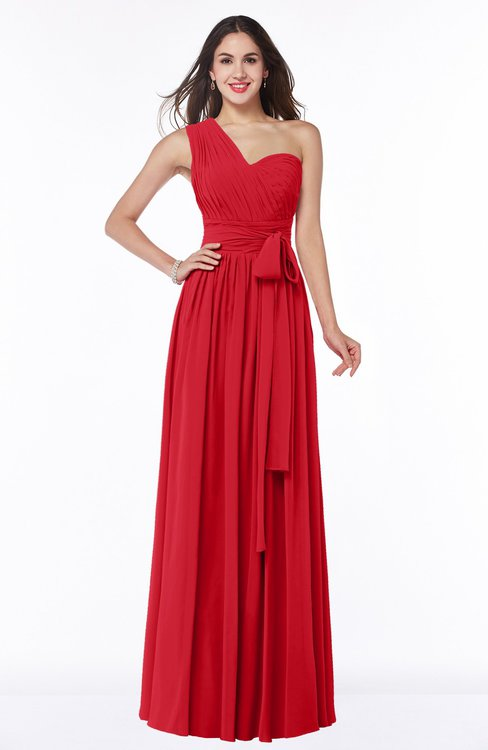 ColsBM Emmeline Red Modern A-line Half Backless Chiffon Floor Length Ruching Plus Size Bridesmaid Dresses