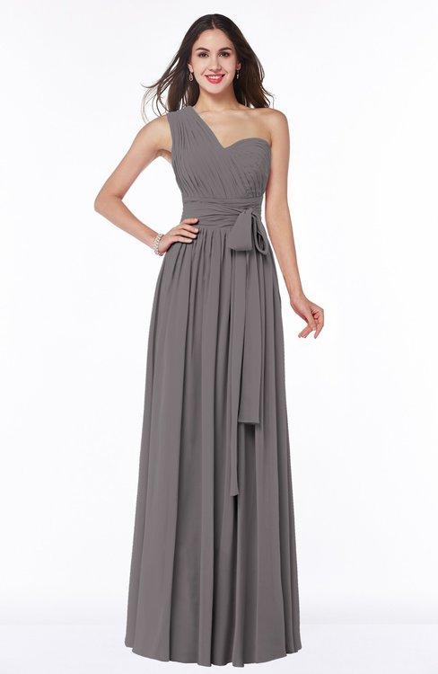 ColsBM Emmeline Ridge Grey Modern A-line Half Backless Chiffon Floor Length Ruching Plus Size Bridesmaid Dresses