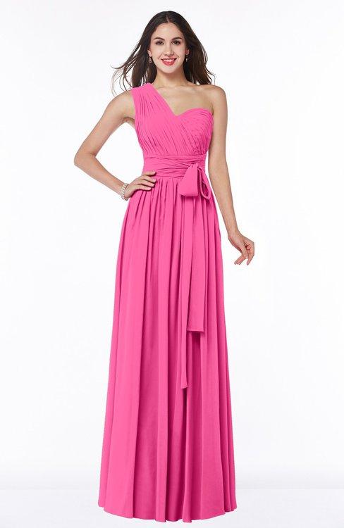 ColsBM Emmeline Rose Pink Modern A-line Half Backless Chiffon Floor Length Ruching Plus Size Bridesmaid Dresses