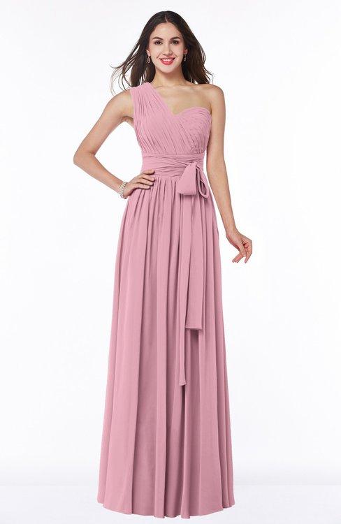 ColsBM Emmeline Rosebloom Modern A-line Half Backless Chiffon Floor Length Ruching Plus Size Bridesmaid Dresses