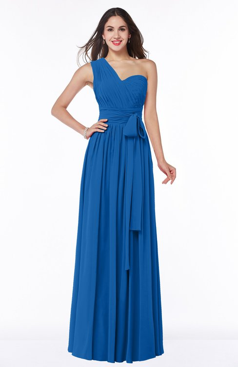 ColsBM Emmeline Royal Blue Modern A-line Half Backless Chiffon Floor Length Ruching Plus Size Bridesmaid Dresses