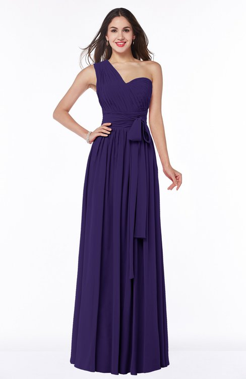 ColsBM Emmeline Royal Purple Modern A-line Half Backless Chiffon Floor Length Ruching Plus Size Bridesmaid Dresses