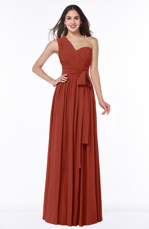 ColsBM Emmeline Rust Modern A-line Half Backless Chiffon Floor Length Ruching Plus Size Bridesmaid Dresses
