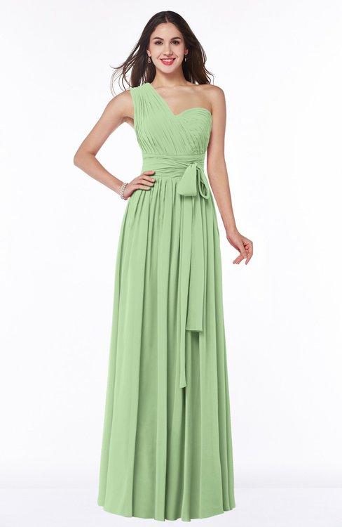 ColsBM Emmeline Sage Green Modern A-line Half Backless Chiffon Floor Length Ruching Plus Size Bridesmaid Dresses