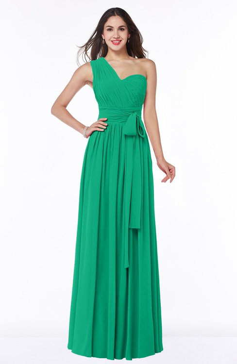 ColsBM Emmeline Sea Green Modern A-line Half Backless Chiffon Floor Length Ruching Plus Size Bridesmaid Dresses
