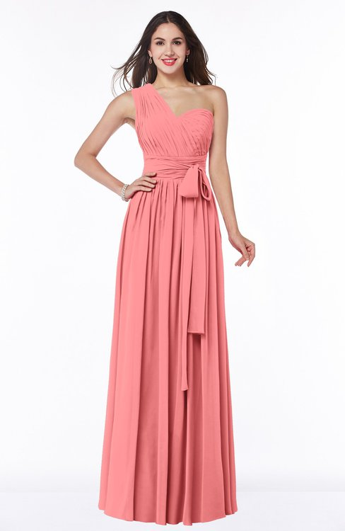 ColsBM Emmeline Shell Pink Modern A-line Half Backless Chiffon Floor Length Ruching Plus Size Bridesmaid Dresses