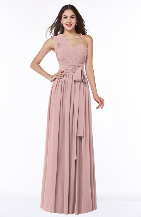 ColsBM Emmeline Silver Pink Modern A-line Half Backless Chiffon Floor Length Ruching Plus Size Bridesmaid Dresses