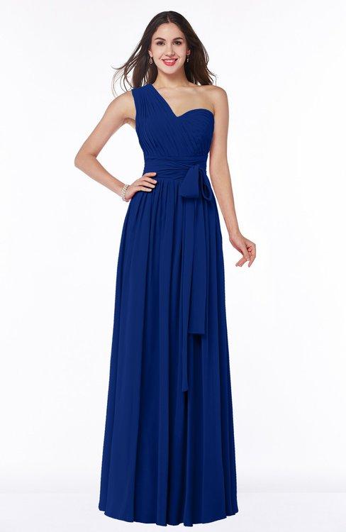 ColsBM Emmeline Sodalite Blue Modern A-line Half Backless Chiffon Floor Length Ruching Plus Size Bridesmaid Dresses