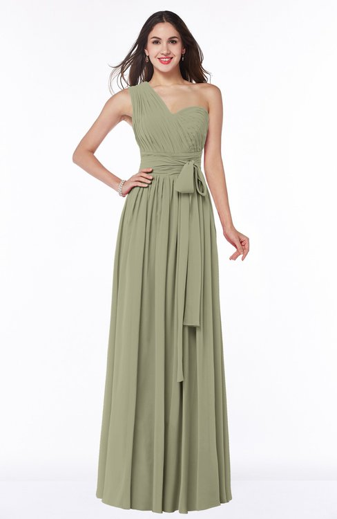 ColsBM Emmeline Sponge Modern A-line Half Backless Chiffon Floor Length Ruching Plus Size Bridesmaid Dresses