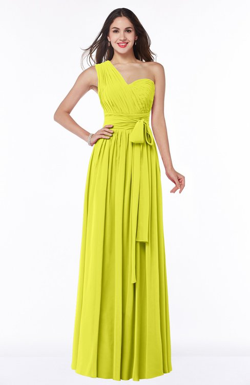 ColsBM Emmeline Sulphur Spring Modern A-line Half Backless Chiffon Floor Length Ruching Plus Size Bridesmaid Dresses