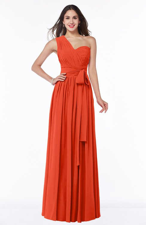 ColsBM Emmeline Tangerine Tango Modern A-line Half Backless Chiffon Floor Length Ruching Plus Size Bridesmaid Dresses