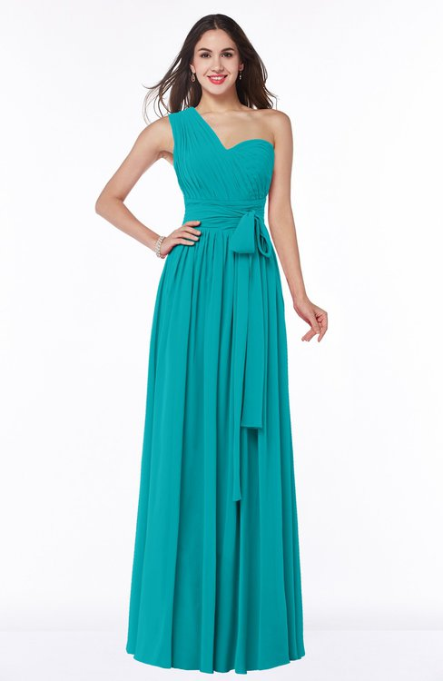 ColsBM Emmeline Teal Modern A-line Half Backless Chiffon Floor Length Ruching Plus Size Bridesmaid Dresses