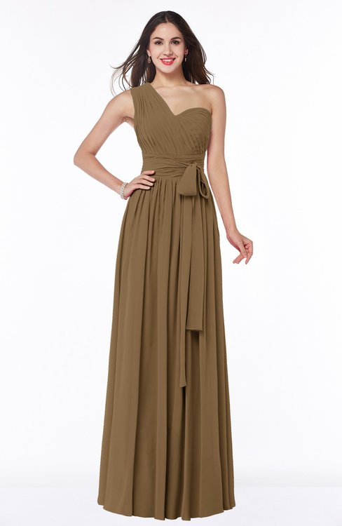 ColsBM Emmeline Truffle Modern A-line Half Backless Chiffon Floor Length Ruching Plus Size Bridesmaid Dresses