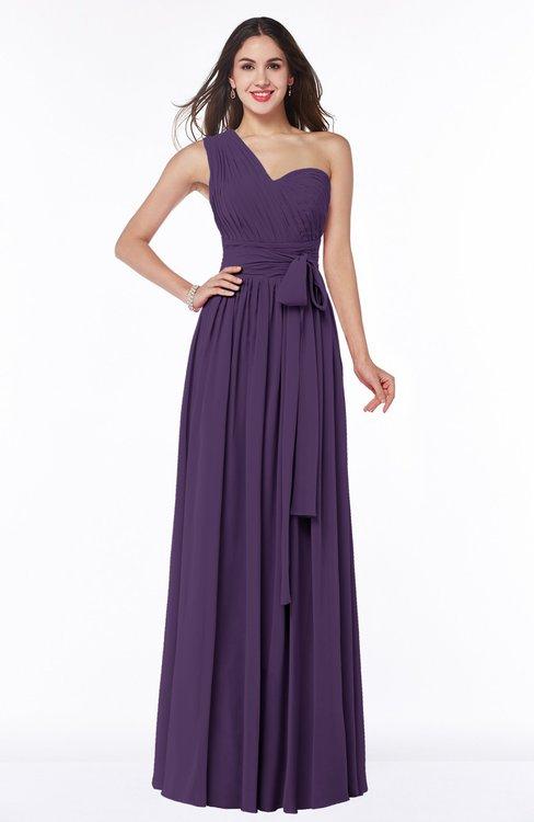 ColsBM Emmeline Violet Modern A-line Half Backless Chiffon Floor Length Ruching Plus Size Bridesmaid Dresses