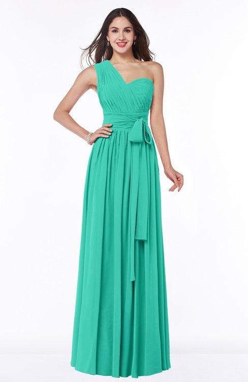 ColsBM Emmeline Viridian Green Modern A-line Half Backless Chiffon Floor Length Ruching Plus Size Bridesmaid Dresses
