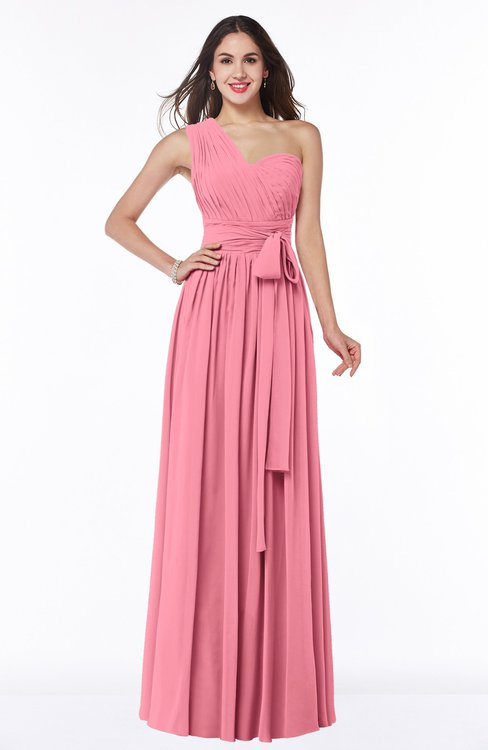ColsBM Emmeline Watermelon Modern A-line Half Backless Chiffon Floor Length Ruching Plus Size Bridesmaid Dresses