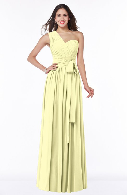 ColsBM Emmeline Wax Yellow Modern A-line Half Backless Chiffon Floor Length Ruching Plus Size Bridesmaid Dresses