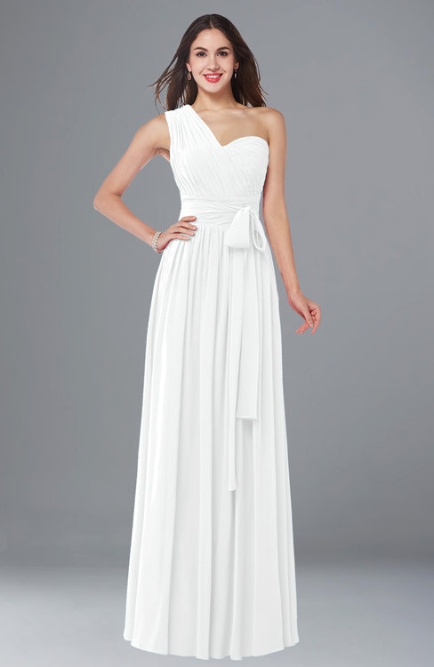 ColsBM Emmeline White Modern A-line Half Backless Chiffon Floor Length Ruching Plus Size Bridesmaid Dresses