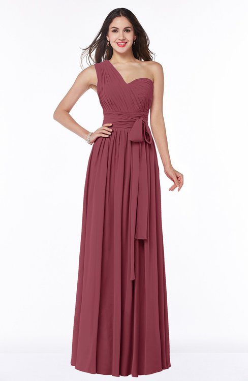 ColsBM Emmeline Wine Modern A-line Half Backless Chiffon Floor Length Ruching Plus Size Bridesmaid Dresses