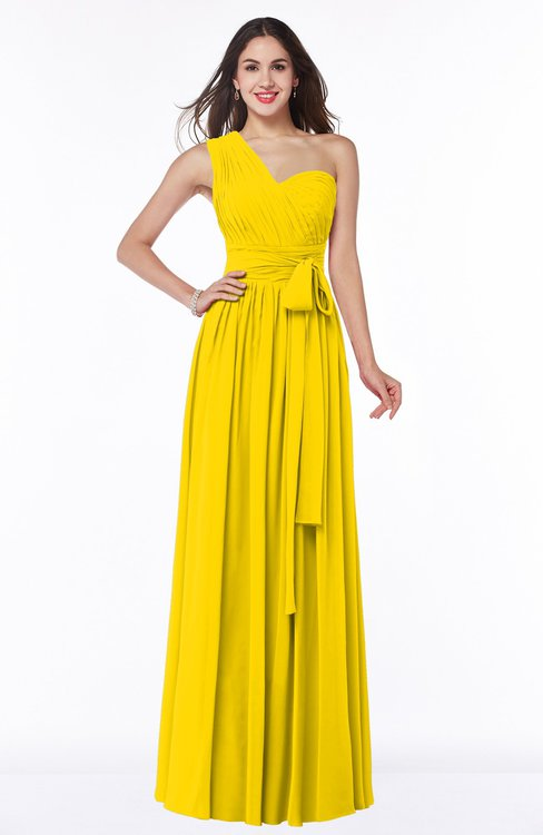 ColsBM Emmeline Yellow Modern A-line Half Backless Chiffon Floor Length Ruching Plus Size Bridesmaid Dresses