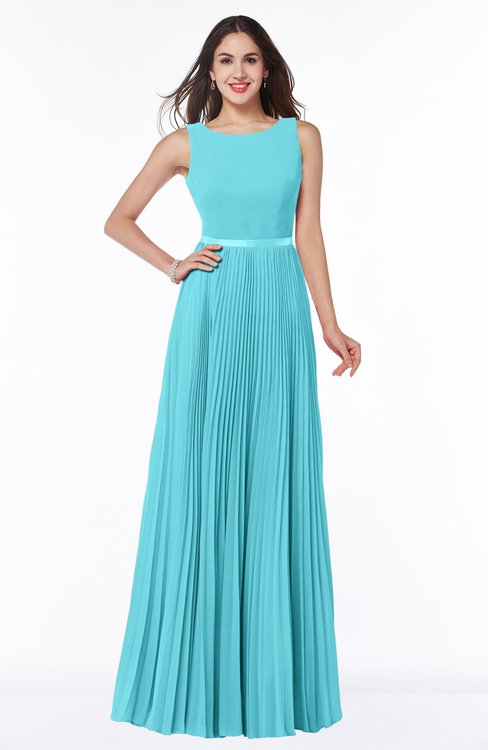 ColsBM Nicole Turquoise Elegant A-line Sleeveless Chiffon Floor Length Pleated Plus Size Bridesmaid Dresses