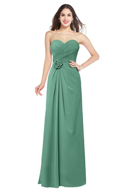 ColsBM Josie Beryl Green Glamorous Sweetheart Sleeveless Zip up Flower Plus Size Bridesmaid Dresses