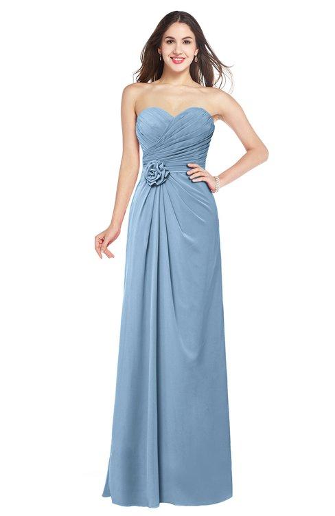 ColsBM Josie Sky Blue Glamorous Sweetheart Sleeveless Zip up Flower Plus Size Bridesmaid Dresses