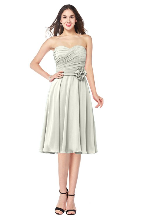 ColsBM Whitney Cream Classic A-line Sweetheart Sleeveless Tea Length Pleated Plus Size Bridesmaid Dresses