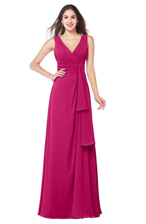 ColsBM Brenda Beetroot Purple Romantic Thick Straps Sleeveless Zipper Floor Length Sash Plus Size Bridesmaid Dresses