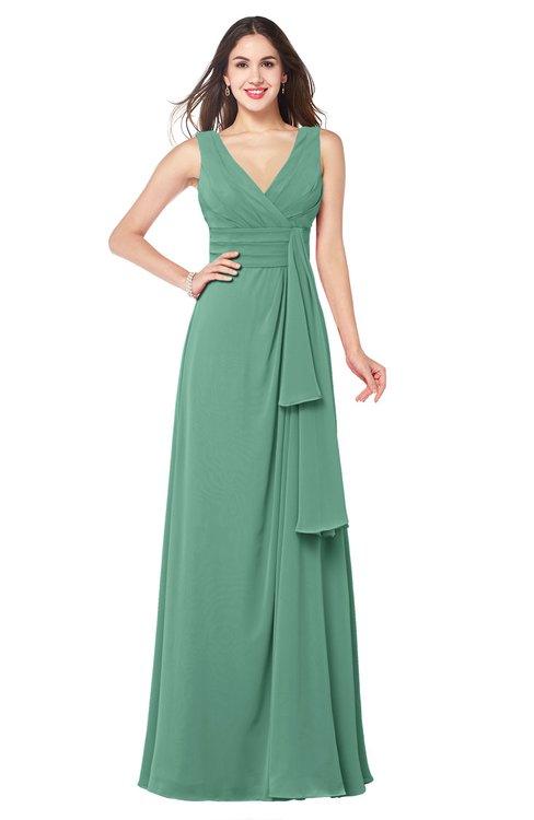 ColsBM Brenda Beryl Green Romantic Thick Straps Sleeveless Zipper Floor Length Sash Plus Size Bridesmaid Dresses