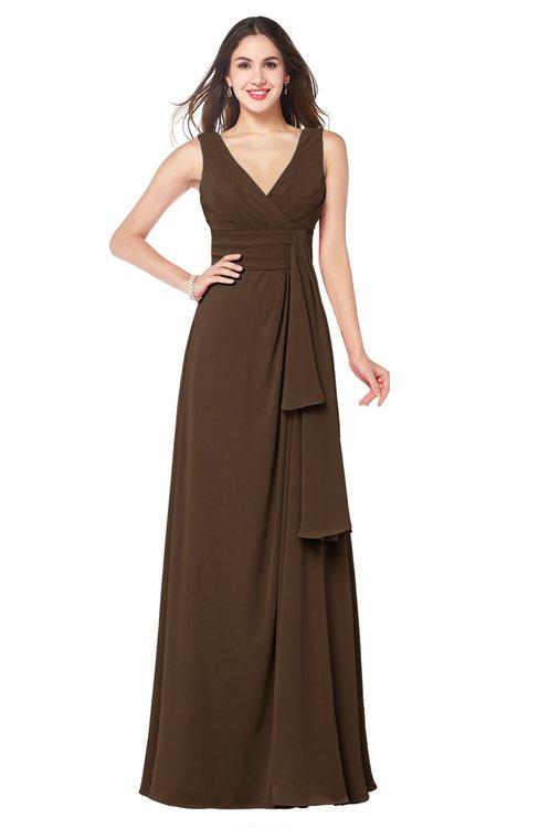 ColsBM Brenda Chocolate Brown Romantic Thick Straps Sleeveless Zipper Floor Length Sash Plus Size Bridesmaid Dresses