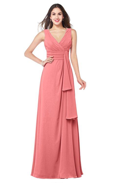 ColsBM Brenda Coral Romantic Thick Straps Sleeveless Zipper Floor Length Sash Plus Size Bridesmaid Dresses