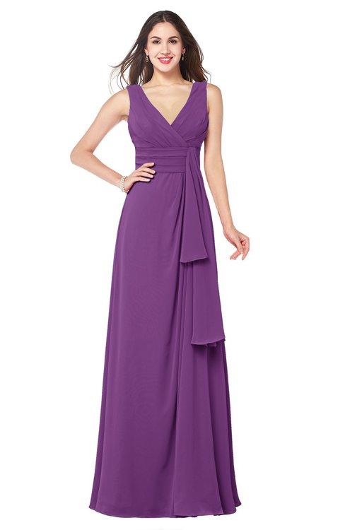 ColsBM Brenda Dahlia Romantic Thick Straps Sleeveless Zipper Floor Length Sash Plus Size Bridesmaid Dresses