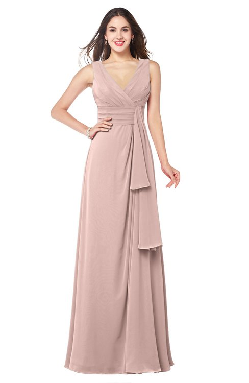 ColsBM Brenda Dusty Rose Romantic Thick Straps Sleeveless Zipper Floor Length Sash Plus Size Bridesmaid Dresses