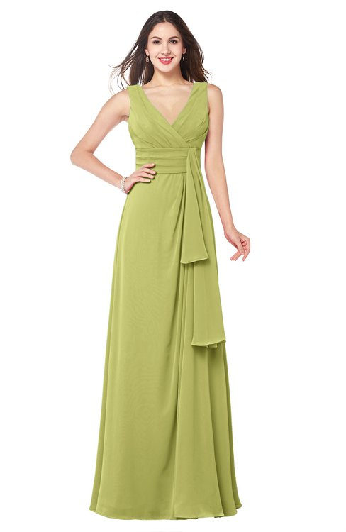 ColsBM Brenda Linden Green Romantic Thick Straps Sleeveless Zipper Floor Length Sash Plus Size Bridesmaid Dresses