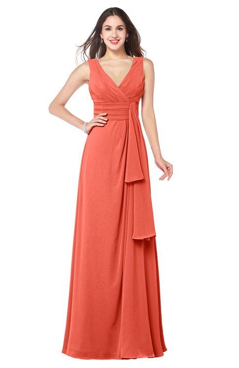 ColsBM Brenda Living Coral Romantic Thick Straps Sleeveless Zipper Floor Length Sash Plus Size Bridesmaid Dresses